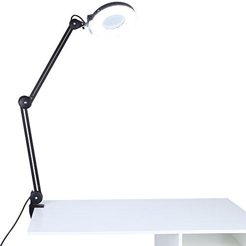 5x Lente d' ingrandimento ,Lampada da Tavolo Professional,con Luce Fredda Bianca Lampada,Multi-funzionale Pieghevole per Makeup Gioiellerie, orologiai, estetisti (nero)