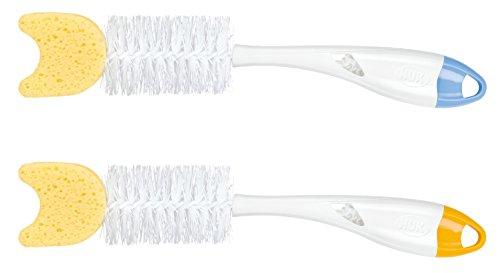 NUK Flaschenbürste Spülbürste mit Schwamm, herausnehmbare Saugerbürste im Griff, Farbe nicht frei wählbar, 1 Stück
