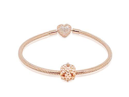 Starter Set Schlangenkette Charm Armband Rosegold Pave Herz Rosa Emaille Perle mit Kristallen für Damen Mädchen Liebe Paved Heart Rose Gold Bracelet Coffret Cadeau...