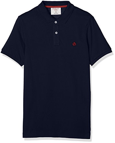 Springfield Herren Poloshirt Ba Jul Polo Slim Solid Blau