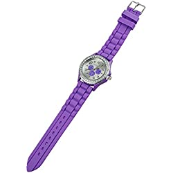 TOOGOO(R) Women's Crystals Rubber Silicone Gel Jelly Watch Purple