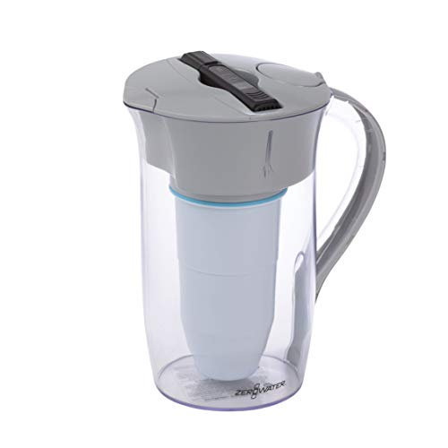 Zero Water 8 Cup Round Pitcher with Free Water Quality Meter Ohrstöpsel 8 centimeters Schwarz (Black)