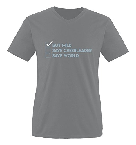 Comedy Shirts - Buy milk, save cheerleader, save world - Heros - Herren V-Neck T-Shirt - Dunkelgrau / Eisblau-Weiss Gr. (Cheerleader Barbie Outfit)