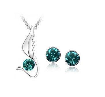 Ohrringe Silber farbig Österreichisches Kristall (Türkis) (Österreichischen Kristall Modeschmuck)