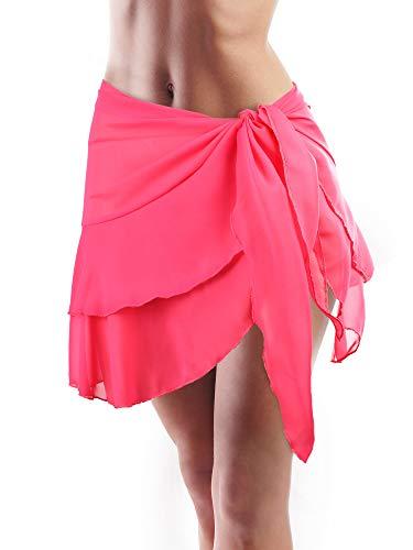 Hestya Donne Copricostume Spiaggia Wrap Chiffon Bikini Gonna Increspatura Avvolge Sarong (Rosa Rossa-Doppio Strato, 66,9 x 16,1 Pollici)