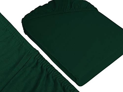 npluseins klassisches Jersey Spannbetttuch - erhältlich in 34 modernen Farben und 6 verschiedenen Größen - 100% Baumwolle, 90-100 x 200 cm, dunkelgrün - 3