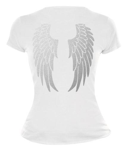 buXsbaum Damen Girlie T-Shirt Engelsflügel | Rückendruck | Karneval Fasching Halloween Kostüm Funshirt | M, - Kostüm Frauen Engel