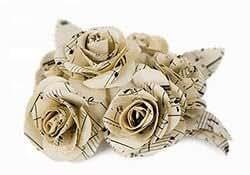 Scrappy Do Decorazione Rosa Musicale In Carta Con Pentagramma Dimensione Grande Effetto Bianco Floreale (5cm x 5cm)