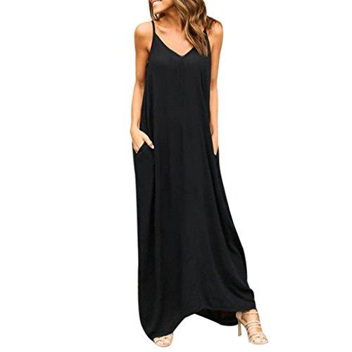 Vestidos Elegantes Mujer Moda 2018,Sonnena  Vestido Maxi Largo Hippie Boho Mujer Verano para cóctel Fiesta Playa (M, Negro)