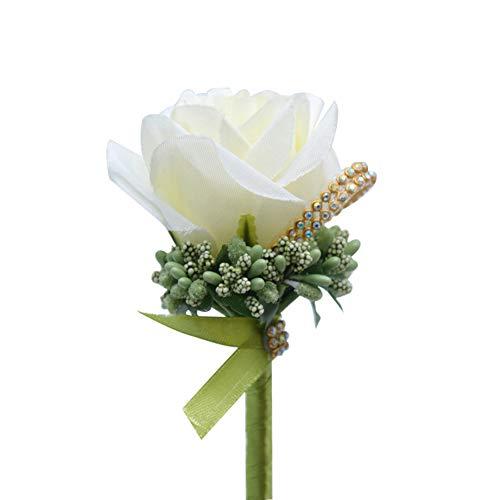 Demarkt Künstliche Rose Boutonniere Hochzeit Braut Blumen Anstecker Brautaccesoires Milchweiss