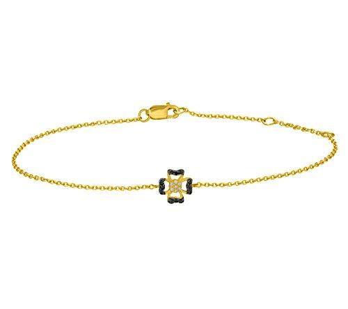 Or Jaune 9 ct Bracelet Diamant en forme de fleur, 0.03 Ct Diamant, GH-SI, 1.73 grammes.