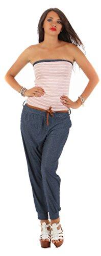 Mississhop 170 Damen Jumpsuit Overall 2 in 1 Optik Lange Hose Jeans-Look und gestreiftes Bandeau Top Schulterfrei Marine Streifen Rosa -