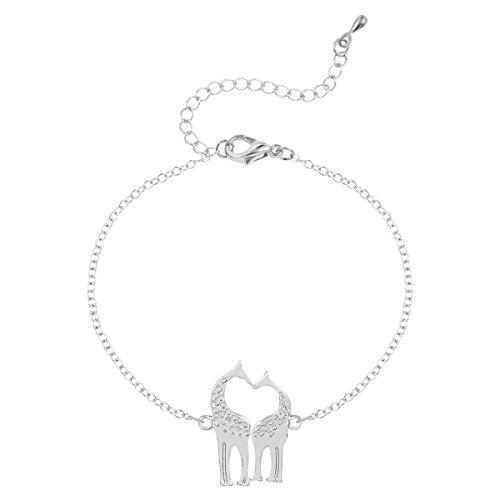 Tier Giraffe Liebe Hirsch Liebe Liebe Anhänger Armband,Silver-M (Tier-stulpe-armband)