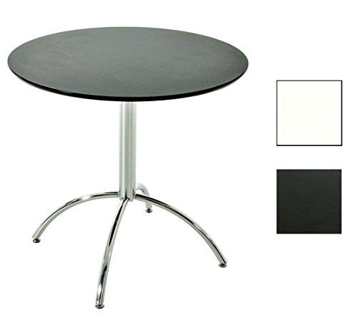 CLP Mesa de bistró MARVILLE Diámetro 80 cm, Madera/Metal, Altura: 75 cm, Opción de Color Negro