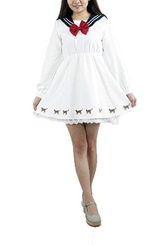 Topfly® Spiele Cosplay Sailor Moon Fancy Lolita Schleife Spitze Full Dress Gr. US Small (Etikett M), weiß (Full Moon Kostüm)