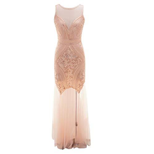 SANFASHION 1920s Kleid Damen Flapper Kleid mit Kurzem Ärmel Gatsby Motto Party Damen Kostüm Kleid