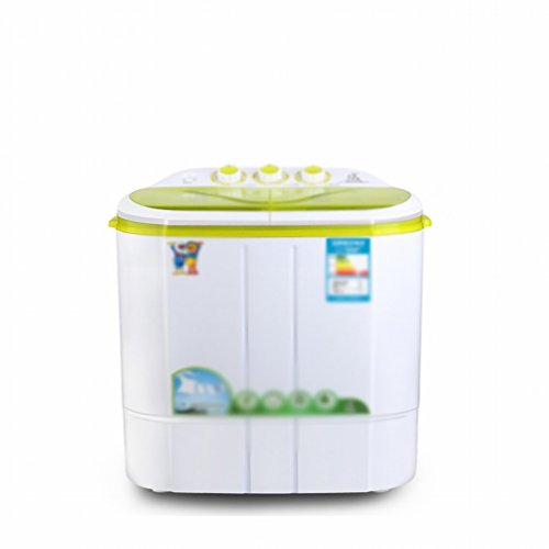 GCCI Mini Waschmaschine Doppel Flasche Flasche Baby Kind Riemenscheibe Semi Automatik Mini Waschmaschine,Grün