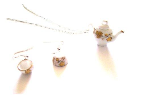 Tazze da tè in foglia oro e Teiera in ceramica da collana e orecchini pendenti, con confezione regalo