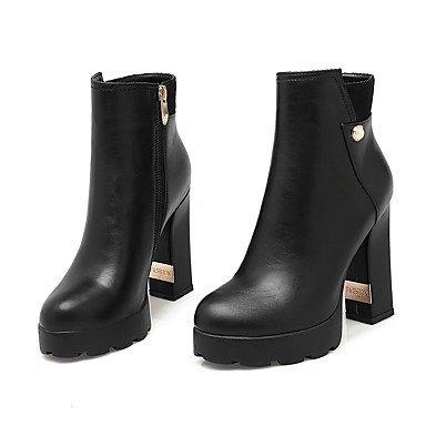 JOE À capuche femmes ronde fermée orteil talons bas Top bottes Black