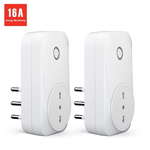 meross Presa Intelligente Wifi Italiana 16A 3680W Smart Plug Spina Energy Monitor, Funzione Timer, App Andriod iOS Controllo Remoto, Compatibile con Amazon Alexa, Google Assistant e IFTTT, 2 Pezzi