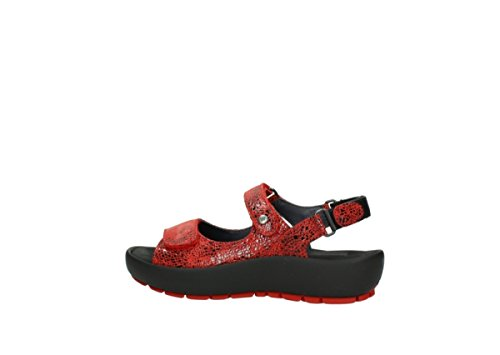Wolky Womens Rio Leather Sandals 450 red craquelé leather