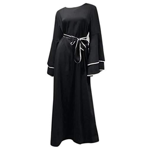 YUAN DamenkleiderSolid Doppelglocke Ärmel Konservativ Jilbab Kaftan Abaya Muslimische Robe Maxikleid