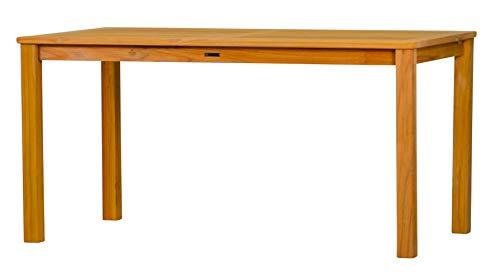 Massiver Gartentisch London aus Teakholz, 150x80cm ✓ Wetterfest ✓ Nachhaltig ✓ Robust | Holztisch als großer Küchen-Tisch, Balkon-Tisch, Terrassen-Tisch | Brauner Teak-Tisch, Esstisch für drinnen & draußen | Rechteckiges Garten-Möbel aus Massiv-Holz