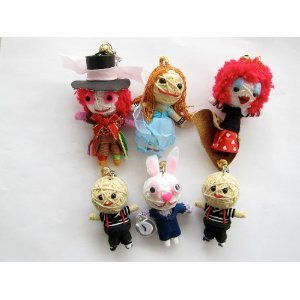 Alice in Wonderland 6 x Voodoo String Doll Keychain Set by String Doll World (String Set Doll)