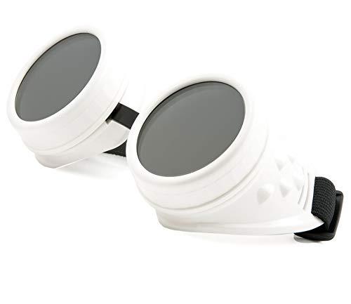 WELDING CYBER GOGGLES Schutzbrille Schweißen Goth cosplay STEAMPUNK COSPLAY GOTH ANTIQUE VICTORIAN WITH SPIKES Includes FREE set Lense Shades UV400 Protection Morefaz(TM) (White)