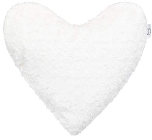 Brandeller Coussin décoratif en Forme de cœur avec Fleurs et Roses, Microfibre, Blanc crème, 40 x 40 cm