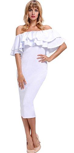 Moda a Maniche Corte Layered con fondo a volant Spalle Scoperte Midi Longuette Bodycon Aderente Fasciante Dress Vestito Abito Bianco