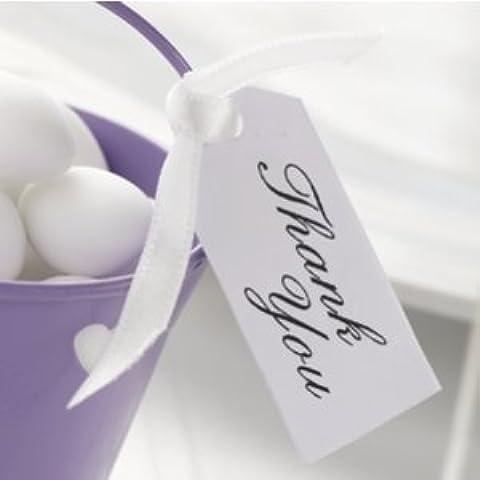 Bigliettini di ringraziamento per confetti, per matrimoni, colore: bianco