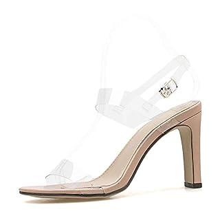 Women Sandals Peep Toe Buckle High Heels Yellow Square Heel Clear Strap Stilettos Fashion Sandals,Apricot,35