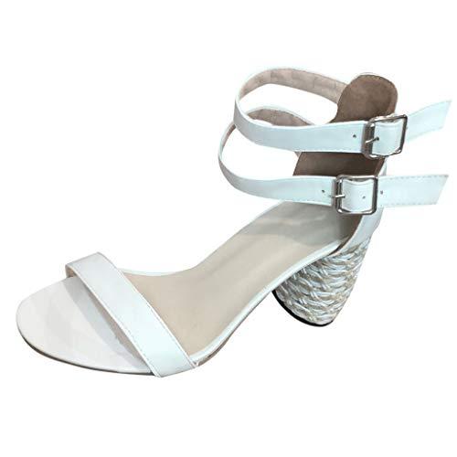 Damen Einfarbig Hohl High Heels, LeeMon Rom Frauen Sommer High Heels Schuhpumps Knöchelschnalle Offene Spitze Dicke Ferse Sandalen -