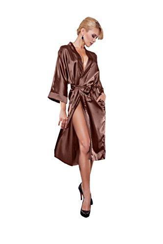 edler langer Morgenmantel Kimono Dessous Nachtwäsche aus Satin und Spitze blau (XL, Schokolade) (Schokolade Kimono)