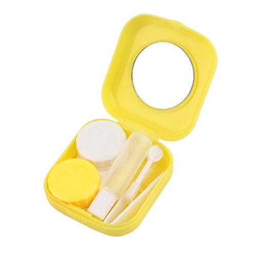Heaviesk Kontaktlinsenbehälter Kunststoff Mini Kontaktlinsenbehälter Außenreisebrillen Kontaktlinsenhalter Behälter mit Spiegel