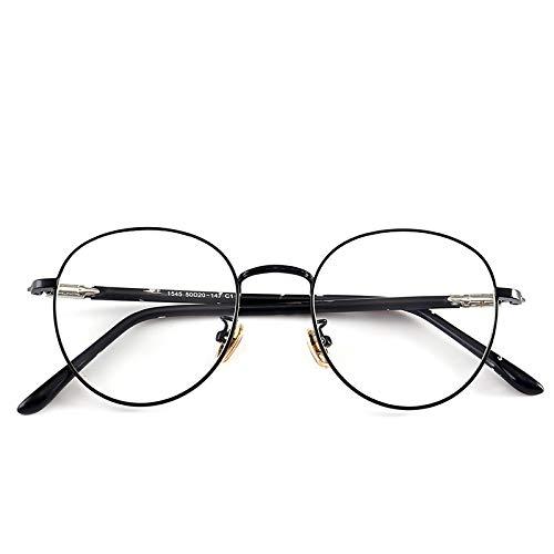 Yangjing-hl Leichte Brillengestell Trend Metal Männer und Frauen Retro Flache Brillengestell kann mit Rahmen schwarzer Rahmen ausgestattet Werden -