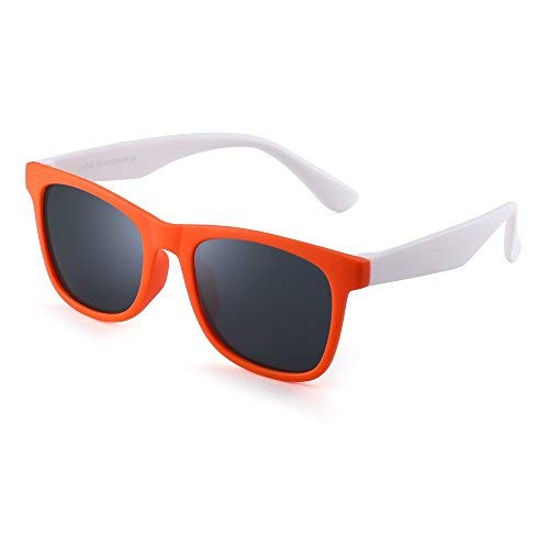 JM Polarisiert Kinder Sonnenbrille Gummi Jungs Mädchen Kids Flexibel Brille Alter 3-12 (Orange Weiß/Polarisiertes Grau)