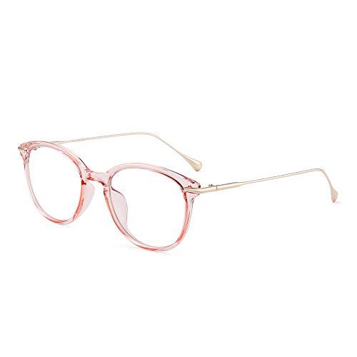 GLINDAR Retro Runden Blaues Licht Blockieren Brillen Reduzieren Auge Belastung Computer Video Spiel Gläser Damen Herren Rosa