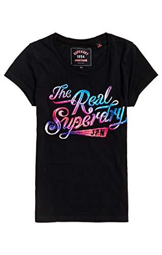 Superdry Damen The Real Festival Embroidery Entry Tee T-Shirt, Schwarz (Black 02a), Small (Herstellergröße: 10) -