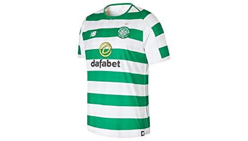 New Balance Herren Celtic FC Home Short Sleeve Jersey, White Green, L (White Celtics Jersey)