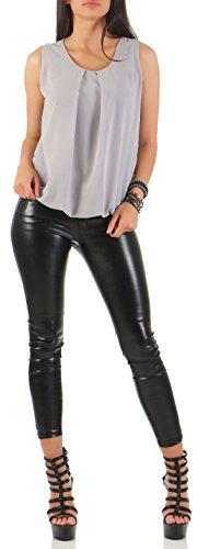 malito elegante leichte Bluse ärmellos Sommer 6879 Damen One Size Hellgrau
