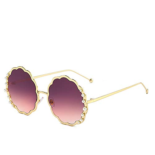 ZJHZJH New Womens Sunglasses Flower Metal Round Frame Glasses Colorful Ocean Sheet Sunshade Sunglasses Outdoor Glasses