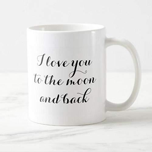 HUYHUY Simple I Love You To The Moon Y Back Coffee Mug Moda Elegante Novio Novio Regalos De San Valentín Modern Love Quote Cups 11Oz
