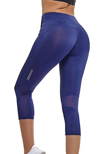 SEASUM Capri pantaloni yoga da donna elastici collant leggings sportivi blu taglia S