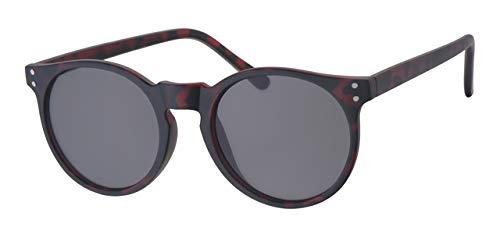 Eyewear World Runde Sonnenbrille, Rutschfester brauner Schildkröten-Rahmen, Schwarze Gläser, Metallscharniere, gratis gelber Halsband