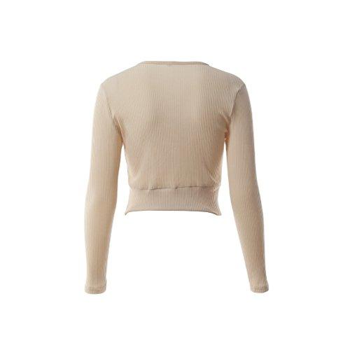 Smile YKK T-shirt Bandage Femme Chemise Manches Longues Top Court Eté Casual Soirée Elégant Kaki