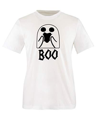 Comedy Shirts - Boo Geist - Halloween - Jungen T-Shirt - Weiss/Schwarz Gr. 110-116