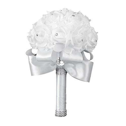 Weiße Rosen-Braut, die Blumenstrauß-Simulations-Schaum-Blumen mit Kristalldiamant-Band-künstlichem Blumenstrauß hält Hochzeits-Versorgungsmaterialien hält - weiß