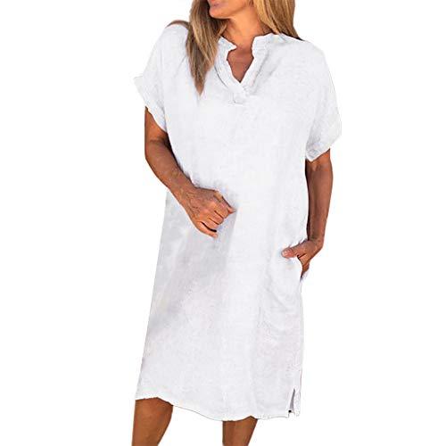 Dasongff Elegantes Knielanges Damen Sommer Leinenkleid Tunika T Shirt Kleid Lose Freizeitkleid Strandkleid mit Tasche Minikleid Kurzarm Rundhals Einfarbig Midi Dress (Weiß-A, XXL)
